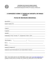 Inscrição - II Seminário sobre Trabalho Infantil em MG.doc