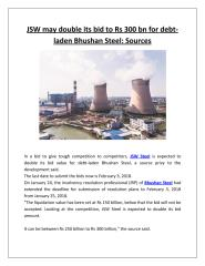 JSW may double its bid to Rs 300 bn for debt-laden Bhushan Steel Sources.pdf