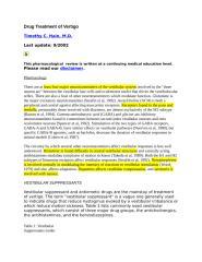 Drug Treatment of Vertigo.doc