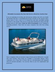 Affordable Sacramento Bay Boat Sale Service offered by Carefree Boat.pdf